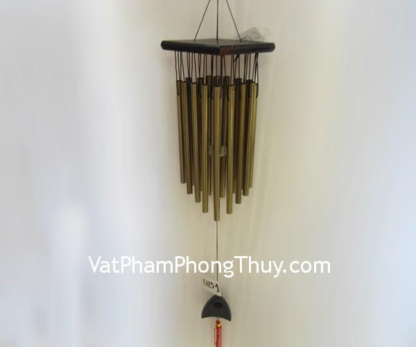 Chuong gio 1251 01 Chuông gió phong thủy treo 16 ống nhôm màu đồng tạo ra cát khí C1251