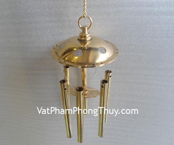 D161 chuong dong 03 Chuông gió phong thủy trei 6 ống đồng nguyên chất xua tan khí xấu D161
