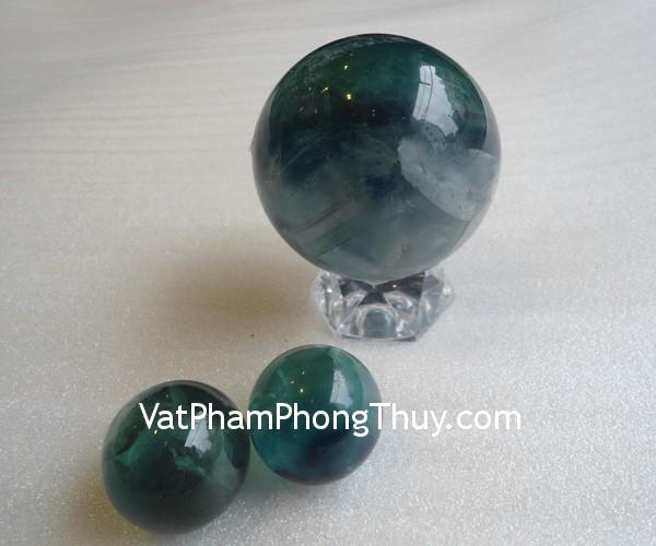 cau da quang xanh QC211 1700 01 Quả cầu đá quý phong thủy dạ quang xanh công việc suôn sẻ QC211 1700