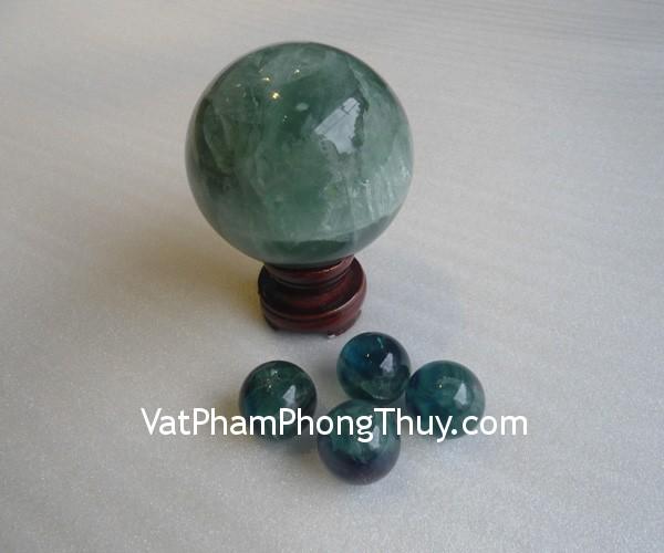 cau da quang xanh QC211 4261 02 Quả cầu đá quý phong thủy dạ quang xanh thuận lợi công việc QC211 4261