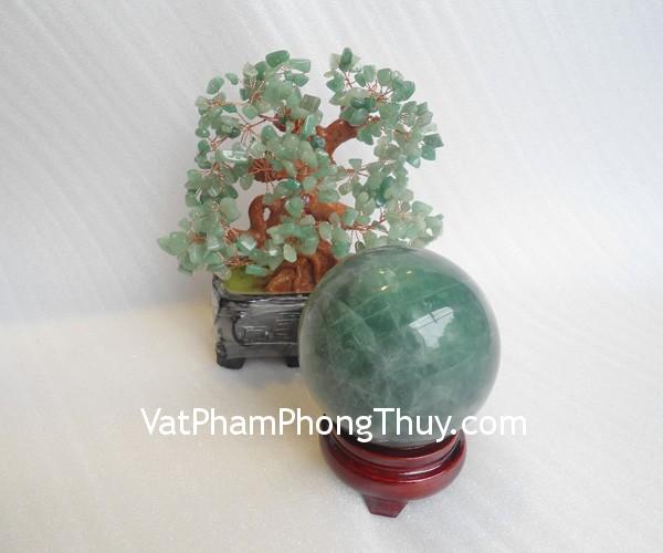 cau da quang xanh QC211 5080 021 Quả cầu đá quý phong thủy dạ quang xanh suôn sẻ công việc QC211 5080