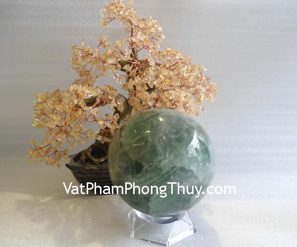 cau da quang xanh QC211 7213 22 Quả cầu đá quý phong thủy dạ quang xanh thuận lợi suôn sẻ QC211 7213
