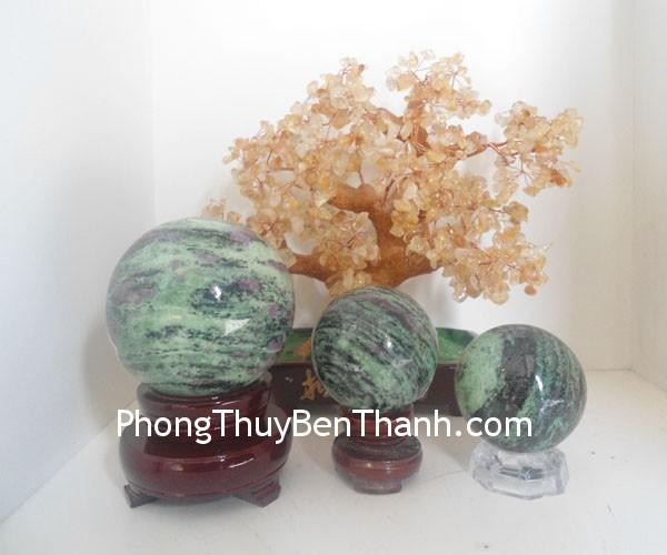 cau hong luc bao dt231 0111111 Quả Cầu đá quý phong thủy hồng lục bảo vỏ ruby công việc thuận lợi DT231