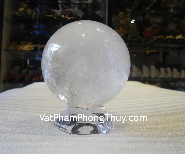 cau thach anh trang QC210 4144 Quả cầu đá quý phong thủy thạch anh trắng tinh thể tăng cường sinh khí QC210 4144