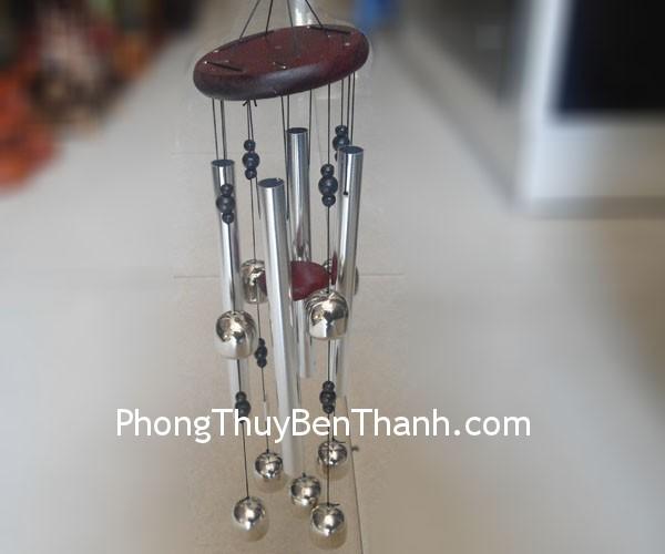 chuong gio 5 ong dong trang c1115 01 Chuông gió phong thủy treo 5 ống nhôm trắng hóa giải Ngũ Hoàng C1115