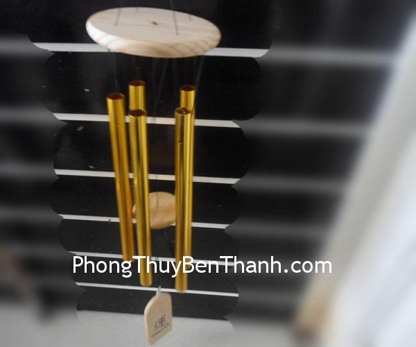 chuong gio 5 ong vang c1112 02 Chuông gió phong thủy treo 5 ống nhôm vàng C1112