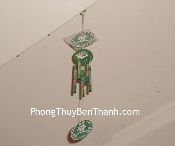 chuong gio c1138 xanh 01 Chuông gió phong thủy treo 5 ống kim loại xanh trừ giải ngũ Hoàng C1138
