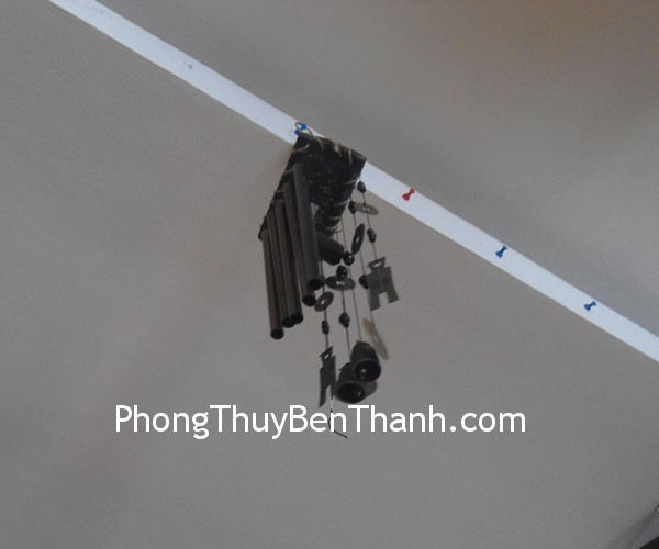 chuong gio c1147 Chuông gió phong thủy treo 5 thanh kim loại trừ sao Nhị Hắc C1147