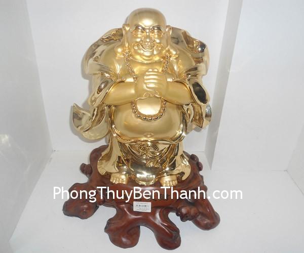 cung hy phat tai f148 Tượng Phật Di Lạc cung hỷ bột đá mạ vàng non an lạc nạp tài F148