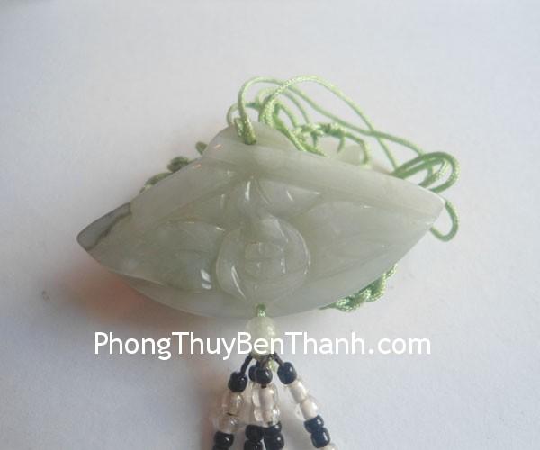 day chuyen quat s491 01 Dây chuyền trang sức kết quạt đá ngọc Miến Điện mang lại bình an S491