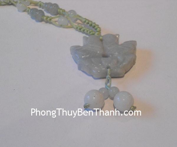 day chuyen uyen uong s496 Dây chuyền trang sức kết cặp uyên ương đá ngọc Miến Điện hạnh phúc bền vững S496