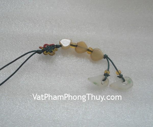 moc dt 3 tim s517 1 Móc điện thoại kết 3 trái tim đá ngọc Miến Điện biểu tượng đôi lứa S517