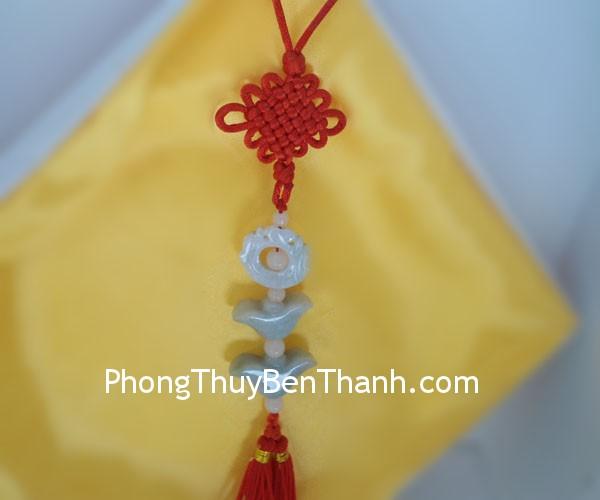 ngoc boi song loc s545 01 Ngọc bội treo biểu tượng song lộc đá Miến Điện chiêu tài tác lộc S545