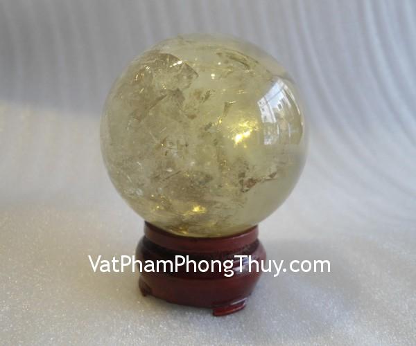 qua cau thach anh vang dac biet QC212 7658 Quả cầu đá quý phong thủy thạch anh vàng tin thể đặc biệt man lại may mắn QC212 7658