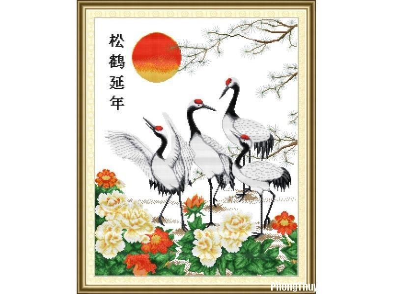 tranh theu chu thap tung hac dien nienD00561x75465 Một số loại tranh phong thuỷ tương thích với các tuổi như Dậu – Tuất – Hợi