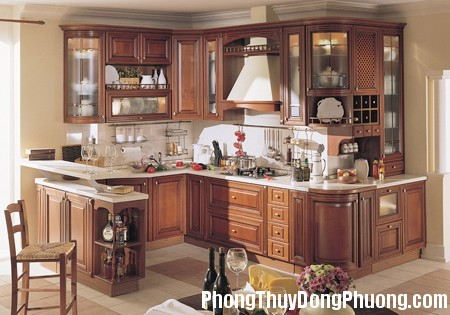 bep11 Cách bố trí đồ nhà bếp theo phong thủy