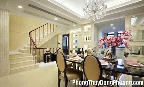 whiteceilingandlightyellowwallspastoralstylediningroomvillawithstairs 1377081243 Thiết kế cầu thang cần lưu ý phong thủy