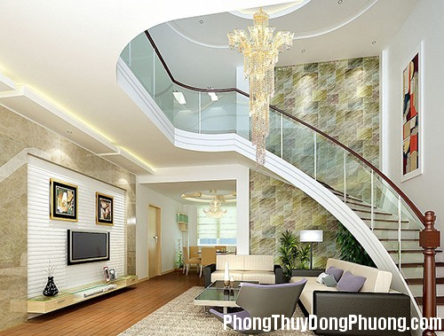 brickwallbendingstairsinvillalivingroom 1377081370 Bố trí cầu thang mang lại may mắn