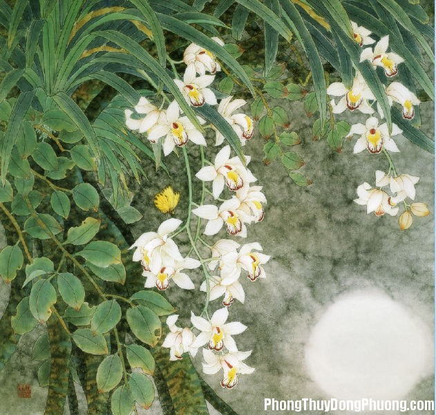 ldn 3640 Cách treo tranh hoa lan hợp phong thủy