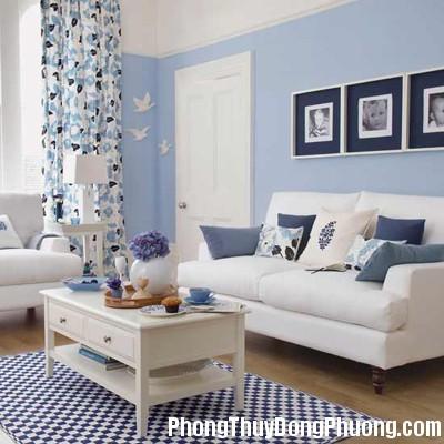 blue living room Chọn màu sơn cho phòng khách hợp phong thủy
