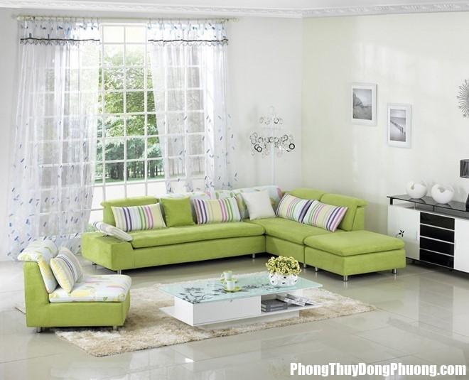 """sofa phong khach gam mau xanh la avzc Sắp đặt nhà ở """"chuẩn"""" phong thủy giúp gia tăng vận may"""