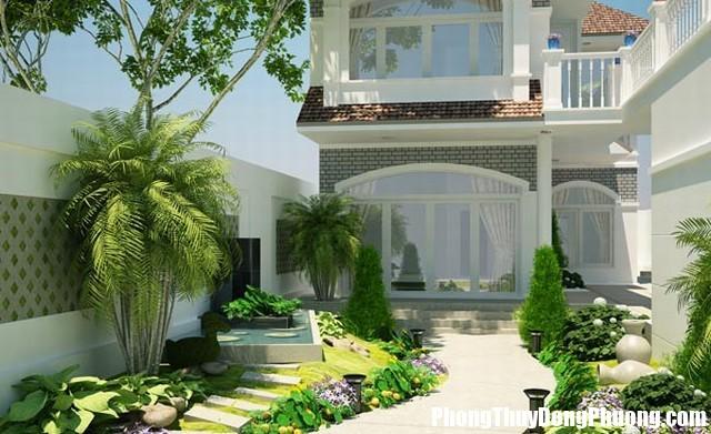 thiet ke loi vao biet thu hien dai3 Nhà ở ngập tràn khí vượng nhờ thiết kế sân vườn hợp phong thủy