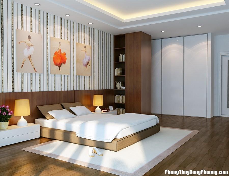 vu khoi white and brown bedroom with ballerinas on walls Tuyệt chiêu phong thủy phòng ngủ giúp vợ chồng giữ gìn hôn nhân